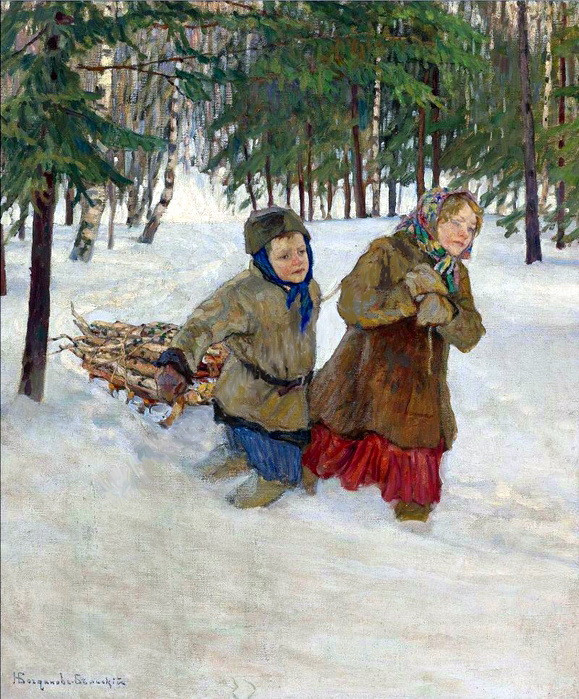 Children Carrying the Wood in Winter